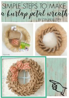 to Make a Burlap Petal Wreath How to make a beautiful burlap petal wreath, great gift idea! I'm sharing the full tutorial at diy beautify!How to make a beautiful burlap petal wreath, great gift idea! I'm sharing the full tutorial at diy beautify! Burlap Bubble Wreath, Burlap Wreath Tutorial, Straw Wreath, Fabric Wreath, Tulle Wreath, Wreath Burlap, Chevron Burlap Wreaths, Burlap Bows, Burlap Projects