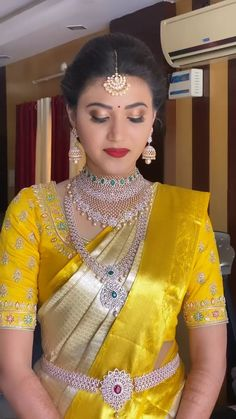 Bridal Hairstyle Indian Wedding, Indian Wedding Gowns, Indian Gowns Dresses, Indian Bridal Outfits, Indian Bridal Fashion, Wedding Saree Blouse Designs, Half Saree Designs, Fancy Blouse Designs, Fancy Sarees Party Wear