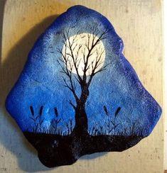 Original Hand Painted Spooky Full Moon River Rock OOAK Halloween Cat Tails OOAK   eBay