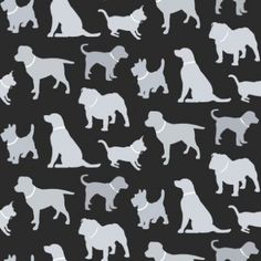 Walkies Black (622007) - Arthouse Wallpapers - An all over, cut out design wallcovering with various breeds of dogs. Shown here in black and silver with metallic highlights. Other colourways are available. Please request a sample for a true colour match.