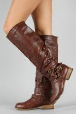 Bamboo Parksville-10 Buckle Riding Knee High Boot