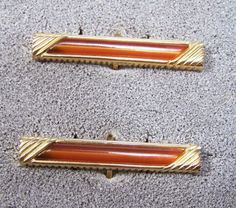 Vintage Men's Cufflinks Gold Tone Long by GretelsTreasures on Etsy