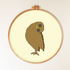 Burrowing Owl head tilt funny cross stitch pattern by ThuHaDesign