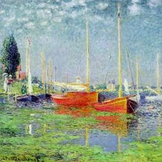 Monet's Argenteuil - Argenteuil, a small town outside Paris, was home to Monet, Renoir, and Manet in the late Framed Art Prints, Painting Prints, Poster Prints, Poster Wall, Pond Painting, Painting Styles, Framed Wall, Manet, Claude Monet Pinturas