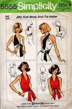 Sexy Retro Halter Top 70s Simplicity Sewing by AdeleBeeAnnPatterns, $12.50