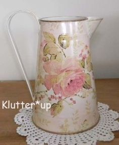 victorian pitchers | Chic Victorian Shabby Country 8 Tall TIN/METAL PITCHER VASE 1 Pink