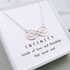 Silver Double Infinity Necklace, Sterling Silver, Message Card, Friendship Necklace, Love, Best Friends, Sisters, Mom, Eternal Love by RoseAndRaven on Etsy https://www.etsy.com/listing/176209904/silver-double-infinity-necklace-sterling