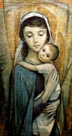 This may be one of my new favorite pictures of Blessed Mother and baby Jesus. Mary with Jesus art-piece in the St Margaret Mary Chapel of Blessed Trinity Church, Owego, NY