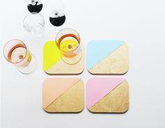 Poppytalk: DIY: Colour Blocked Coasters
