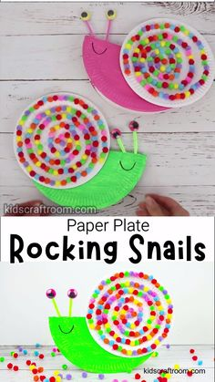 This Rocking Paper Plate Snail Craft is so colourful and fun! Give your rocking snails a gentle tap and watch them happily wobble from side to side. Such a cute paper plate craft for kids that helps them learn about balance too. Paper Plate Crafts For Kids, Summer Crafts For Kids, Easter Crafts, Projects For Kids, Art For Kids, Garden Projects, Creative Ideas For Kids, Crafts For Babies, Arts And Crafts For Kids Toddlers