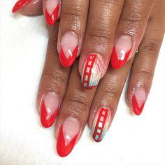 Golden Gate Bridge ❤️ San Francisco #nails for Sandra inspired by @reireishnailart ✨ #nailart #gelnails #goldengatebridge #sf #baylove #hometown #sparklesf #rednails