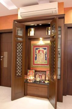 52 ideas puja room door design modern for 2019 Apartment Interior, Room Interior, Home Interior Design, Interior Decorating, Design Interiors, Kitchen Interior, Modern Interior, Kitchen Design, Temple Design For Home
