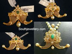 22 carat gold tiger claw/ puligoru pendants studded with cz stones, emeralds and south sea pearls.