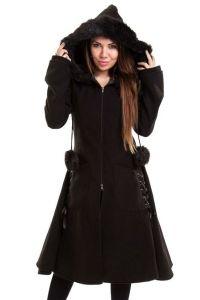 Gothic Mantel mit Kunstfell und Schnürungen