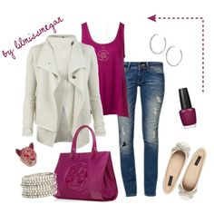 """Cream & Magenta"" by lilmissmegan on Polyvore"