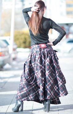 Scottish Plaid Skirt Asymmetrical Long Skirt from by EUGfashion