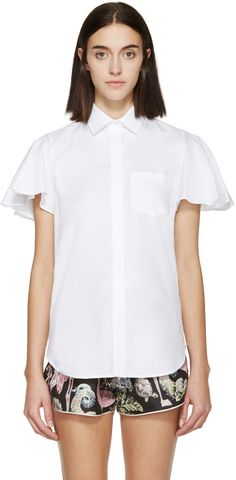 VALENTINO White Poplin Flutter Sleeve Shirt. #valentino #cloth #shirt