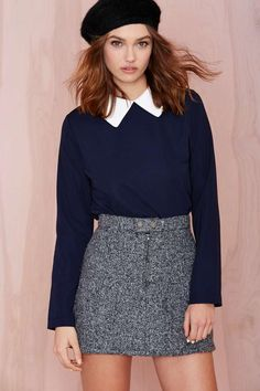 Caitlin Blouse at Nasty Gal College Outfits, Office Outfits, Star Fashion, Fashion Outfits, Preppy Style, My Style, Chelsea Girls, Cute Skirts, Colourful Outfits