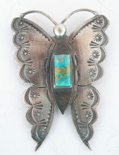 Vintage Butterfly Pin with Turquoise.