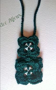 Collana verde crochet lana e bottoni, by Cloe Bijoux , 9,00 € su misshobby.com