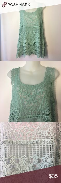 Crocheted Tank💭 Adorable crocheted tank top by Noelle... brand new with tags still attached🤗 fits more true to a medium than small. Comment below with questions or offers poshers!!! Noelle Tops Tank Tops