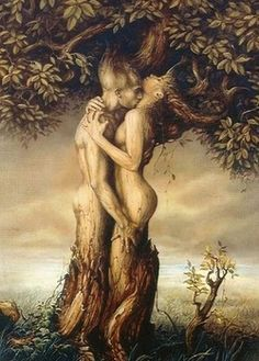 lovers in a tree of life I'd love to have this tattooed on my side.....