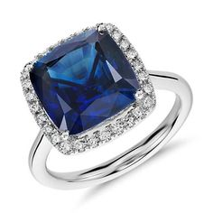 Something Blue, Cushion-Cut Sapphire and Diamond Halo Ring in 18k White Gold | #BlueNile