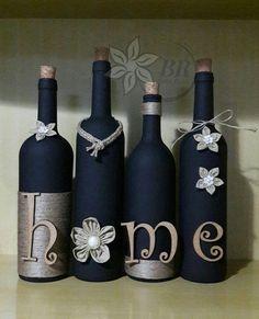 Wine bottle decor (set of four) bottle crafts painted Glass Bottle Crafts, Wine Bottle Art, Painted Wine Bottles, Diy Bottle, Glass Bottles, Decorative Wine Bottles, Crafts With Bottles, Beer Bottle, Garrafa Diy