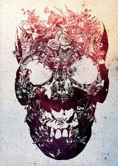 Floral Skull Art Print by Ali Gulec — iCanvas Totenkopf Tattoos, Plakat Design, Geniale Tattoos, Neue Tattoos, Floral Skull, Art Floral, Floral Design, Modern Artwork, Beautiful Artwork
