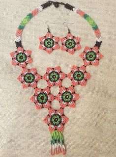 Pink Huichol Beaded Bib Necklace Matching Earrings, Beaded Flower Necklace, Blue Huichol Jewelry Set, Contemporary Necklace with Earrings