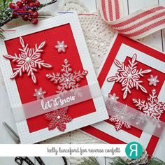 Card duo by Kelly Lunceford. Confetti Cut … – The best ideas Christmas Candle Decorations, Christmas Candles, Christmas Gift Tags, Handmade Christmas, Christmas 2019, Holiday Cards, Christmas Ideas, Snowflake Cards, Snowflakes