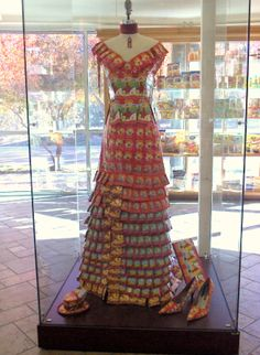 "Well... okay then. ""A dress made entirely out of tea at Celestial Seasonings in Boulder, Colorado."""