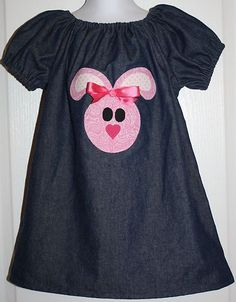 Girls Peasant Dress Easter Bunny Rabbit Applique Denim Blue Pink w Bow Sz 3 | eBay  Paisley Heart Creations