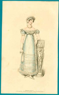 Gauzy blue evening gown fashion print  Subject: A lovely pale blue gauzy gown with white trimmings, with accompanying text attached to the back.