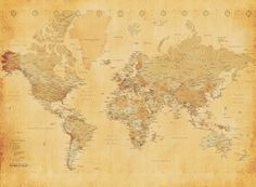 Antique World Map Wallpaper Giant wallpaper wall mural old