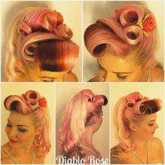 Victory Rolls with Pony Tail | Diablo+Rose+Barrel+Rolls+Victory+Rolls+Pin+Curls+Ponytail+Vintage ...
