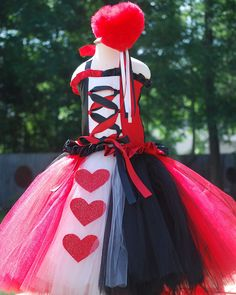 Custom Red Queen of Hearts tutu dress corset set made to fit in a size 12 18 mos 2T 3T 4 5T or larger