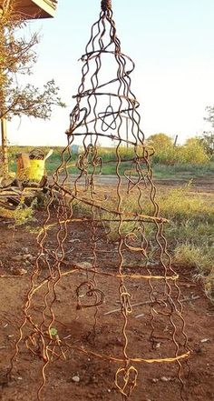 Metal Obelisk Trellis Barbed Wire Tree Fence Stays Holiday Rustic Home Yard Garden Art 3 3 5 Feet Dog Fence, Front Yard Fence, Farm Fence, Pallet Fence, Fence Art, Obelisk Trellis, Garden Trellis, Garden Fencing, Metal Trellis
