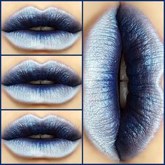 "❄Frost Bitten❄ @feyoshecosmetics ""Navy Baby"" Lipstick NYX Eyeliner Pencils in ""White Pearl"" ""Baby Blue"" & ""Black"""