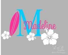 Surf Wall Decal- Surfboard Hibiscus Flower Initial with Name- Girl Room Decor-Personalized-Custom Name Monogram Preppy Hawaiian Vinyl Decal by landbgraphics on Etsy