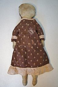 "Early cloth doll brown calico dress 19"" pencil face"