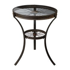 Keep your decor unique and stylish with this Railroad Industrial side table. This table has repurposed wheel details and a glass top. The metal legs feature a rust finish. Type: Side tables Material: