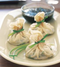 Jade Dumplings with Soy-Sesame Dipping Sauce