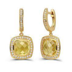 Citrine Dangle Earrings by Lafonn | www.goldcasters.com