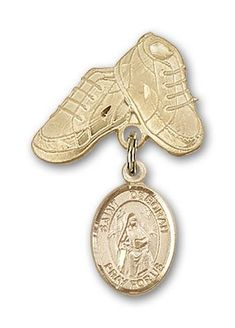Zoe of Rome Charm and Polished Badge Pin Religious Obsession Gold Filled Baby Badge with St