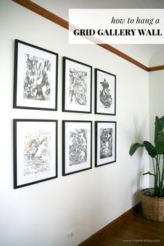 How to measure and hang a grid gallery wall Dining room art with affordable custom frames 038 hardware How to measure and hang a grid gallery wall Dining room art with affordable custom frames 038 hardware Libby Bulger nbsp hellip wall symmetrical Hanging Pictures On The Wall, Hanging Picture Frames, Collage Picture Frames, Hang Pictures, Gallery Wall Frames, Frames On Wall, Modern Gallery Wall, Deodorant, Gallary Wall