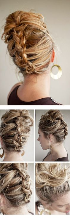 the bun mohawk.like the twist and pin french roll, just with a bit more punk (: by rena Up Hairstyles, Pretty Hairstyles, Reverse Braid, Head Band, Hair Romance, Hair Shows, Braided Ponytail, Twisted Bun, Twist Braids