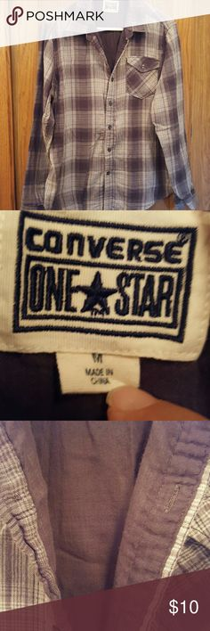 MEN'S CONVERSE SHIRT Mens gray plaid 100% cotton, double layer, button up shirt. Size Medium. EUC. Smoke free/pet free home. REASONABLE offers considered. No stains, odors, rips, tears. Size Medium Converse Shirts