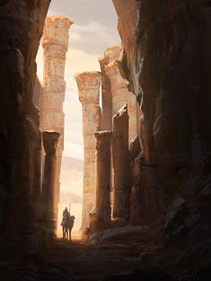 Enjoy a collection of Assassin's Creed Origins Concept Art by Raphael Lacoste. Raphaël Lacoste was the Art Director of Ubisoft for games like Prince of Persia and Assassin's Creed. Fantasy Art Landscapes, Fantasy Landscape, Landscape Art, Desert Landscape, Arte Sci Fi, Sci Fi Art, Fantasy Places, Fantasy World, Landscape Concept