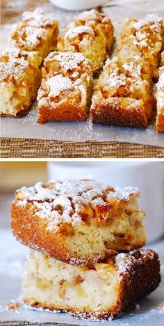 Easy apple squares are made with cinnamon and brown sugar. These delicious cake bars are very moist, thanks to the vegetable oil and the plain Greek yogurt. The apple squares are super easy and quick